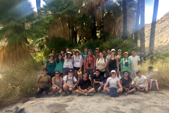 Ecosystems of California field trip to study desert plants stopped for this group shot at SouthW Grove in Mountain Palm Springs.