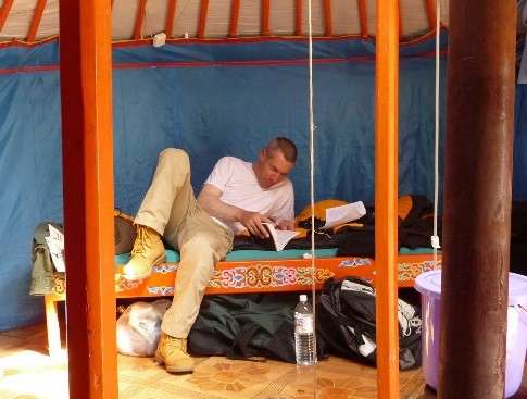 Steve Bier in yurt